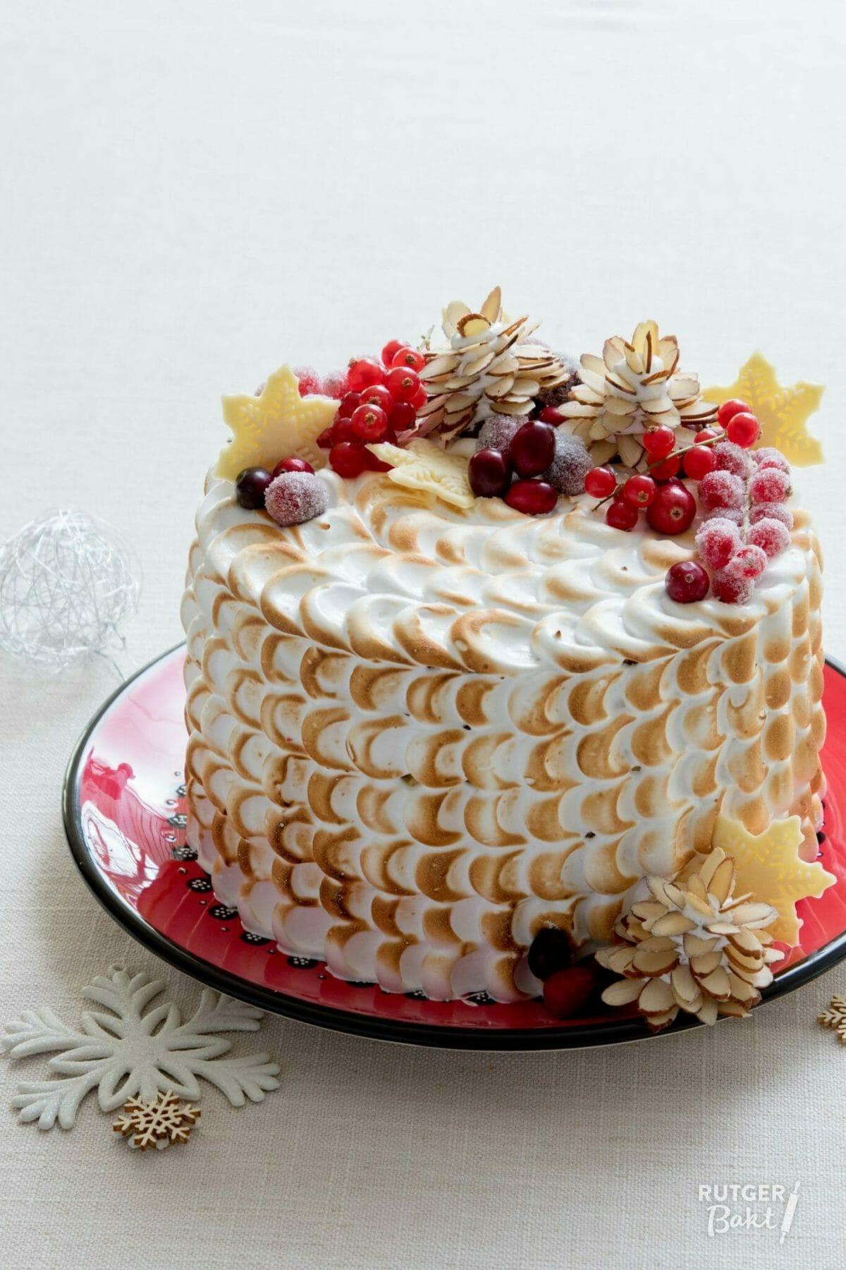 Kersttaart met sinaasappel, cranberry en meringue