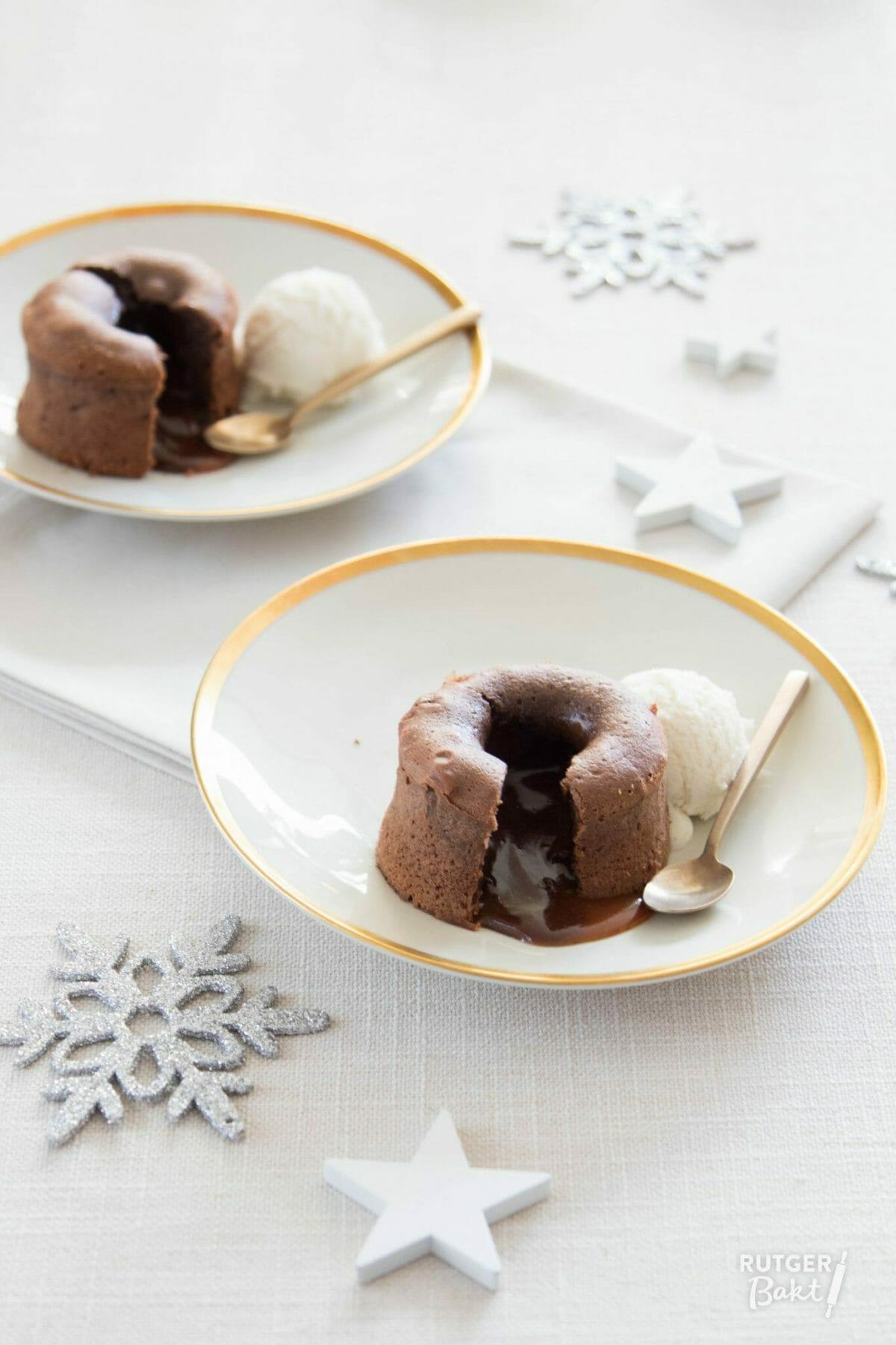 Chocolade moelleux met karamel (lava cakejes)