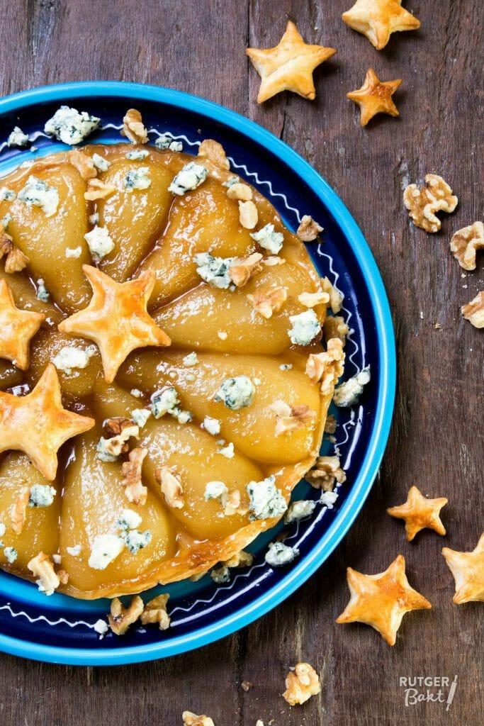 Tarte tatin met peer en blauwe kaas