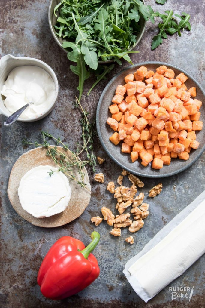 Plaattaart met zoete aardappel en geitenkaas