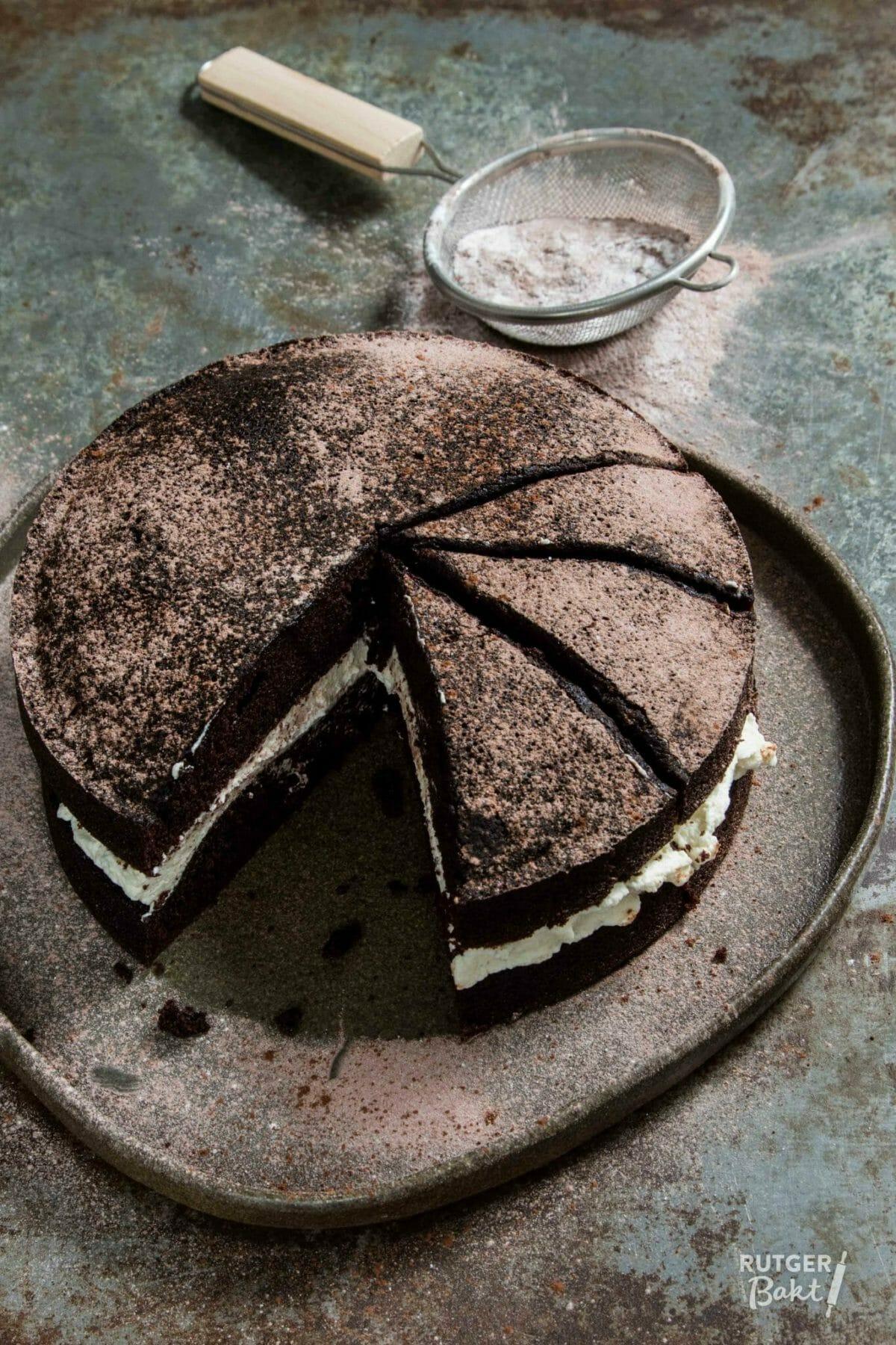 Chocoladetaart met vanilleroom