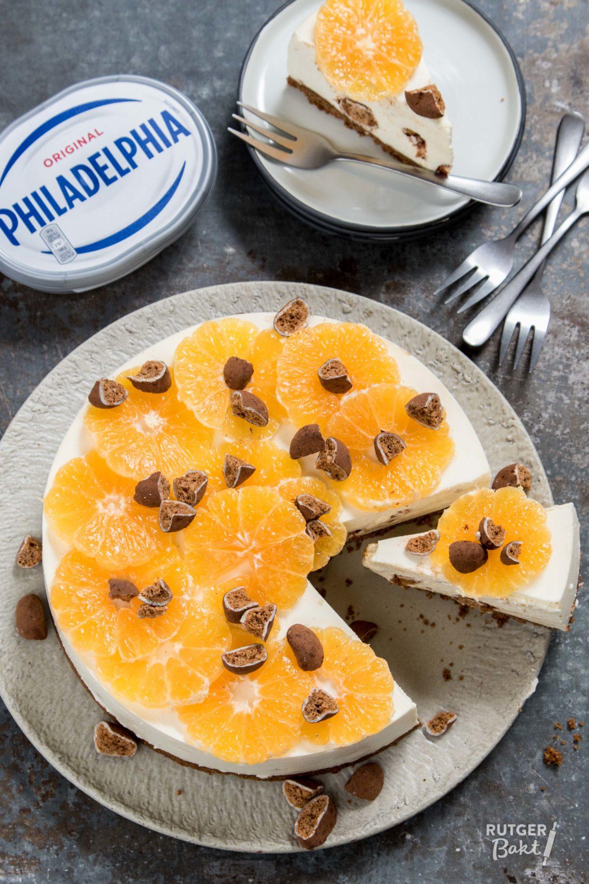 No-bake Philadelphia cheesecake met kruidnoten en mandarijn