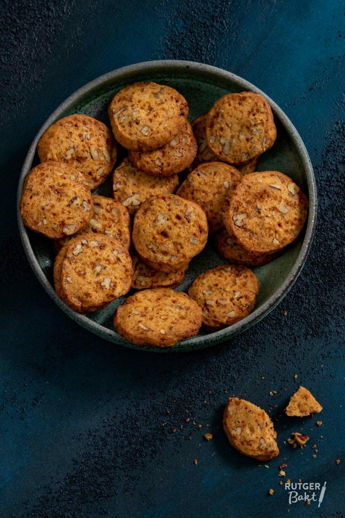 Karamel koekjes met pecannoot en sinaasappel